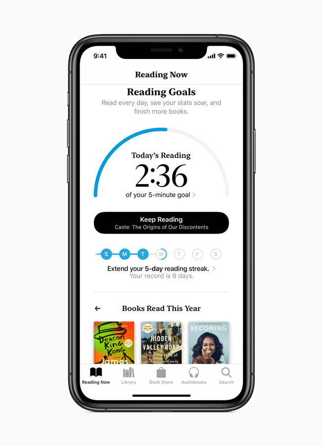 The Reading Goals tab on Apple Books.