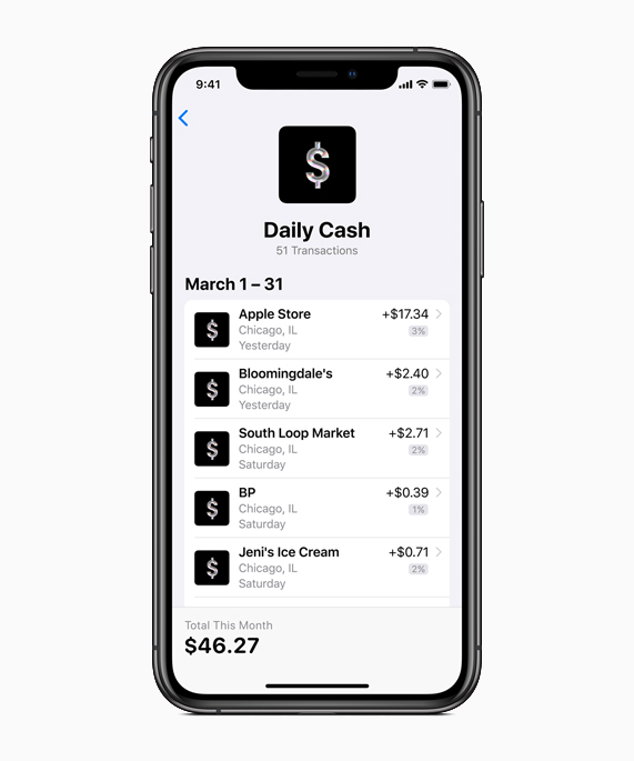 iPhone showing Daily Cash screen.