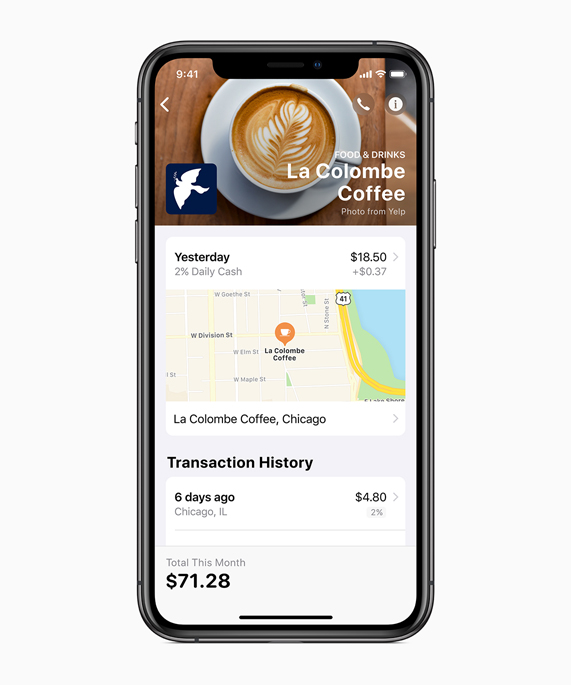 iPhone screen showing transaction history.