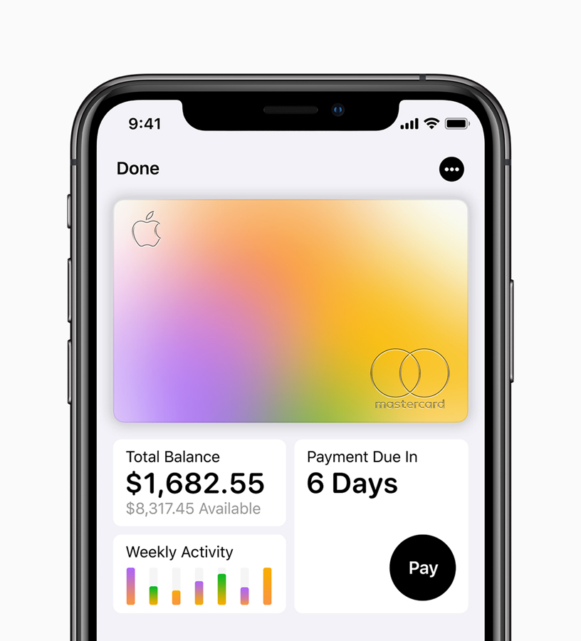 iPhone showing Apple Card and stats.