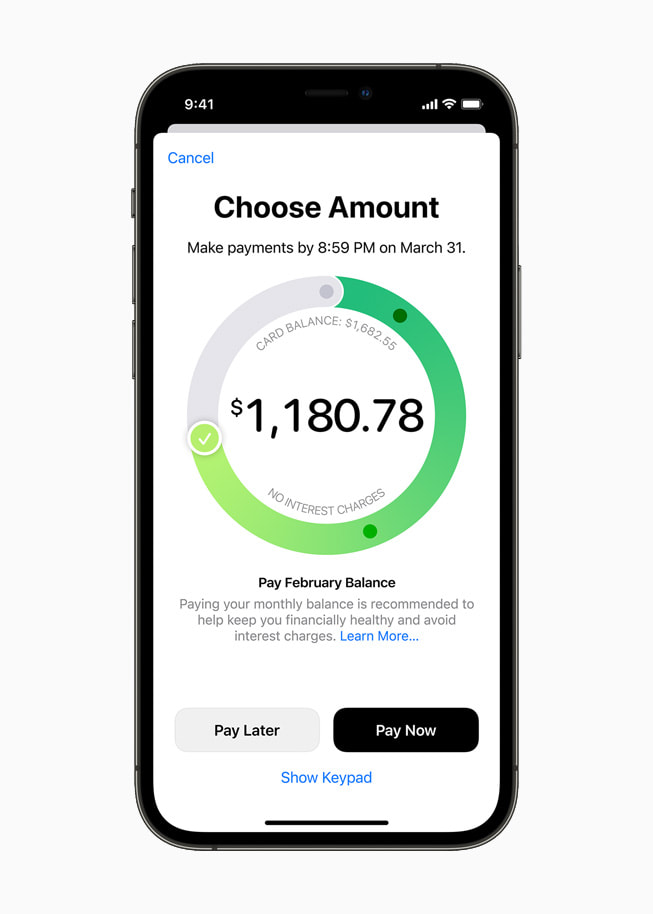 Front view of iPhone 12 Pro paying an Apple Card balance in the Wallet app.
