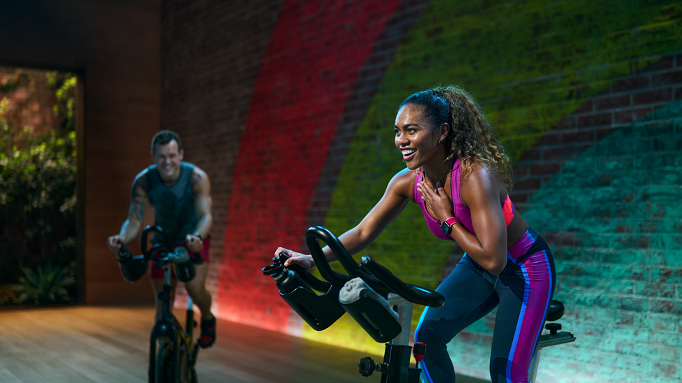 Cycling workout in the Apple Fitness+ studio.