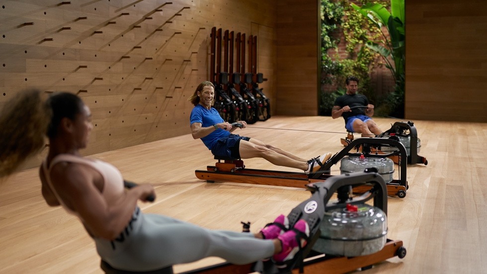 Rowing workout in the Apple Fitness+ studio.