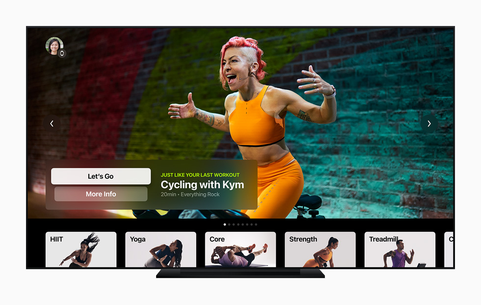Cycling with Kym workout displayed on a television with Apple TV.