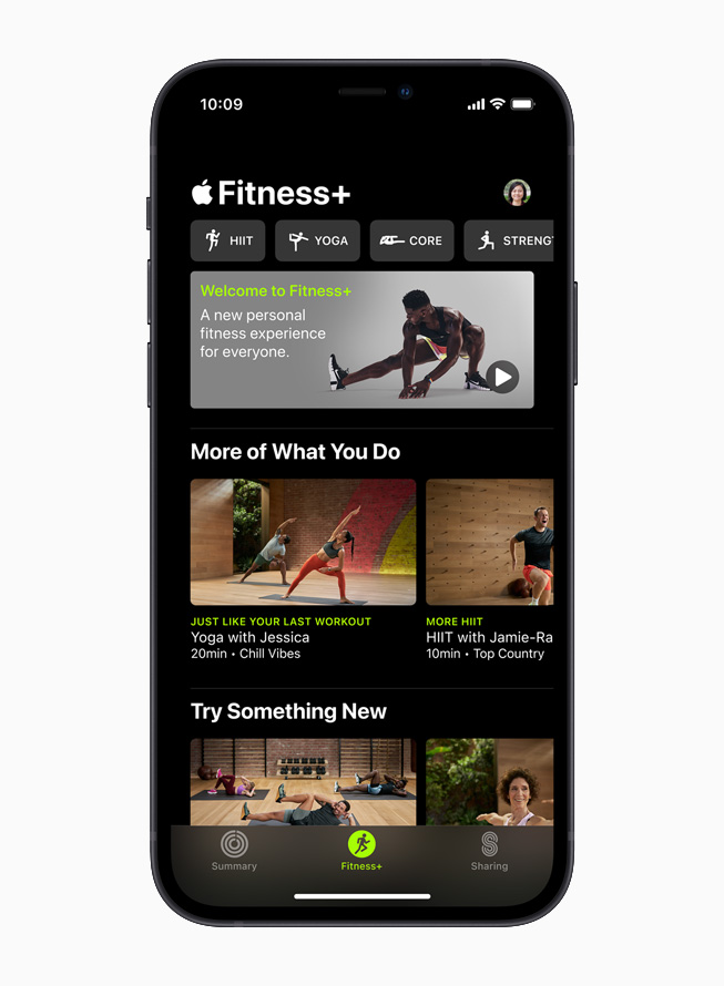 Apple Fitness+ app home screen on iPhone 12.