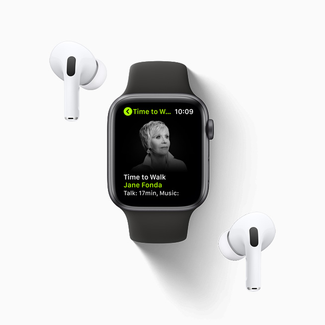 Time to Walk with Jane Fonda, displayed on Apple Watch Series 6 paired with AirPod Pros.