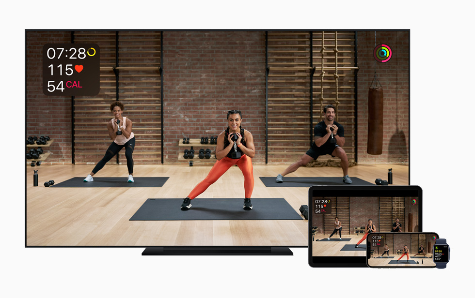 Apple Fitness+ on Apple TV, iPad, iPhone, and Apple Watch.