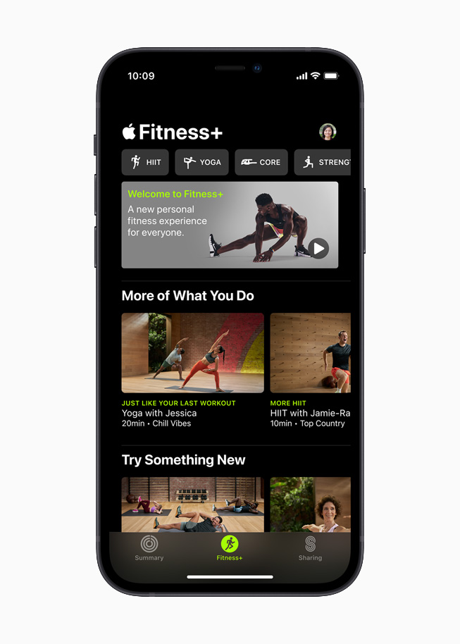 Apple Fitness+ home screen on iPhone 12.
