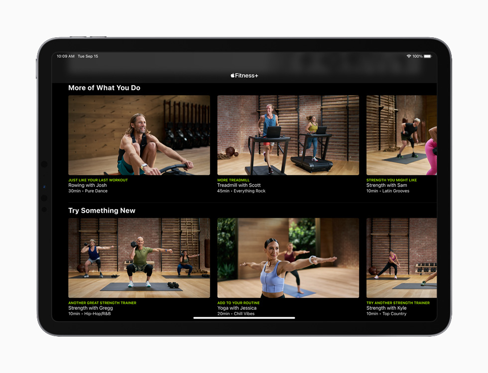 Apple Fitness+ on iPad.