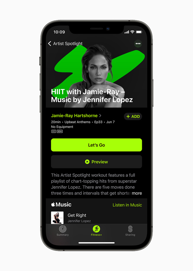 Jennifer Lopez on the new Artist Spotlight series for Fitness+ users on iPhone 12 Pro.