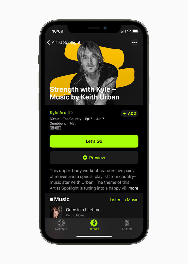 Keith Urban on the new Artist Spotlight series for Fitness+ users on iPhone 12 Pro.