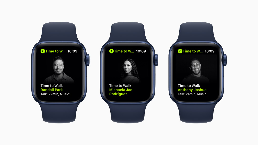 """Randall Park, Michaela Jaé """"MJ"""" Rodriguez, and Anthony Joshua featured on new Time to Walk episodes on the Apple Watch Series 6."""