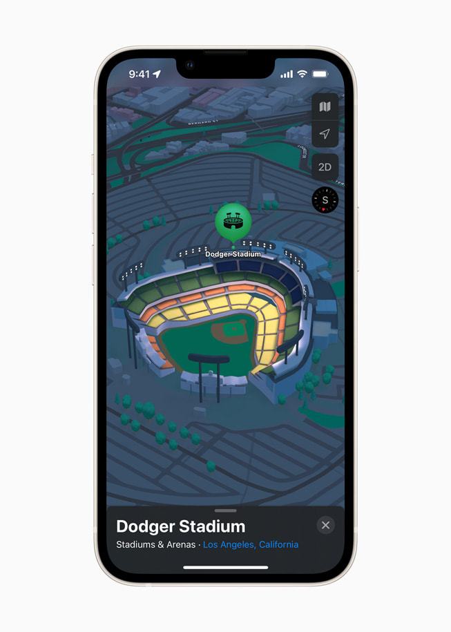 iPhone displays a 3D map of Dodger Stadium in Los Angeles in Apple Maps in iOS 15.