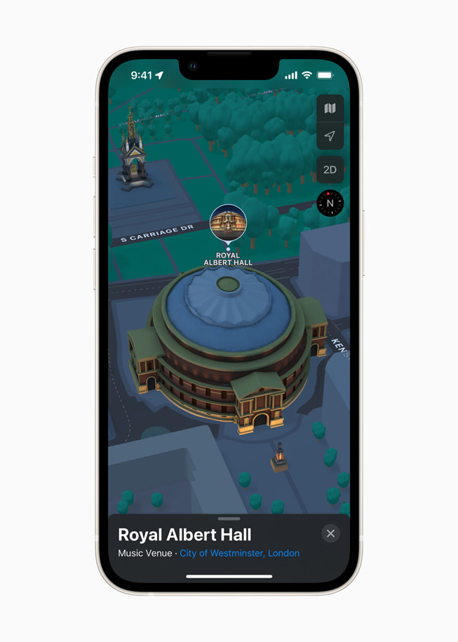 iPhone displays a 3D map of Royal Albert Hall in London in Apple Maps in iOS 15.