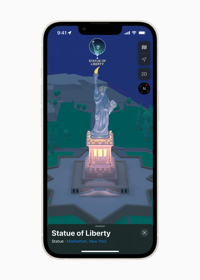 iPhone displays a 3D map of the Statue of Liberty in New York in Apple Maps in iOS 15.