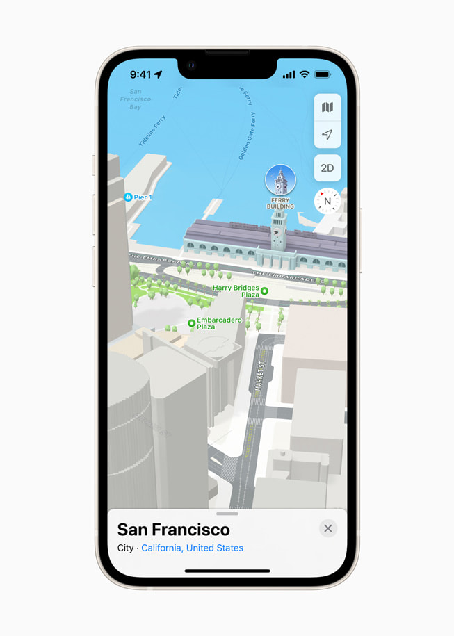 iPhone displays a 3D map of San Francisco in Apple Maps in iOS 15.