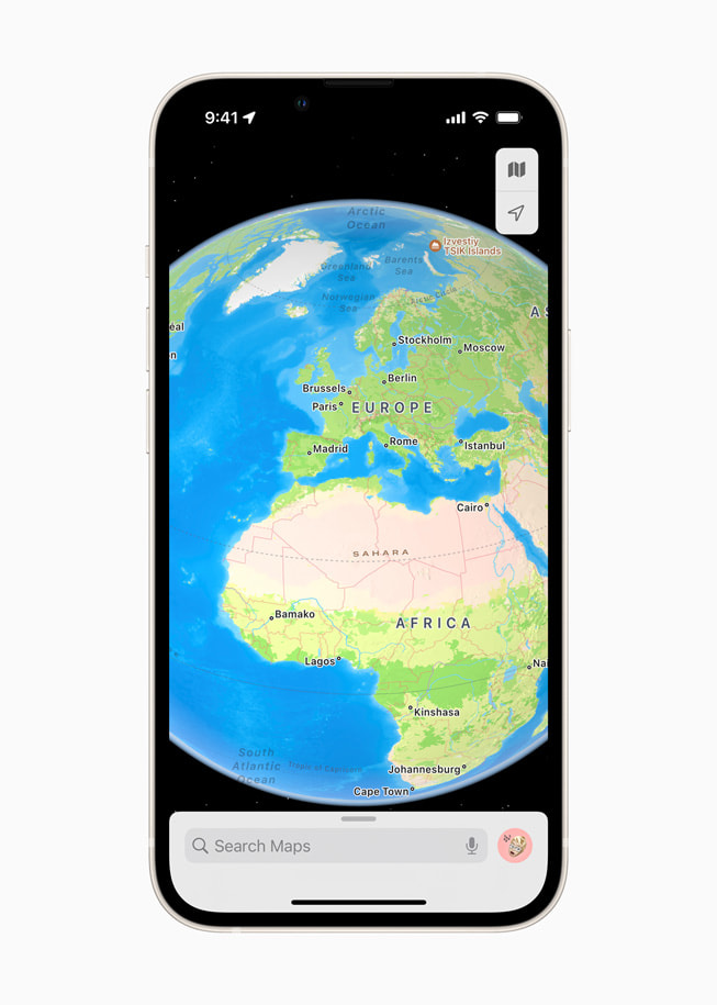 A new interactive globe in Apple Maps in iOS 15 shows Europe and Africa.