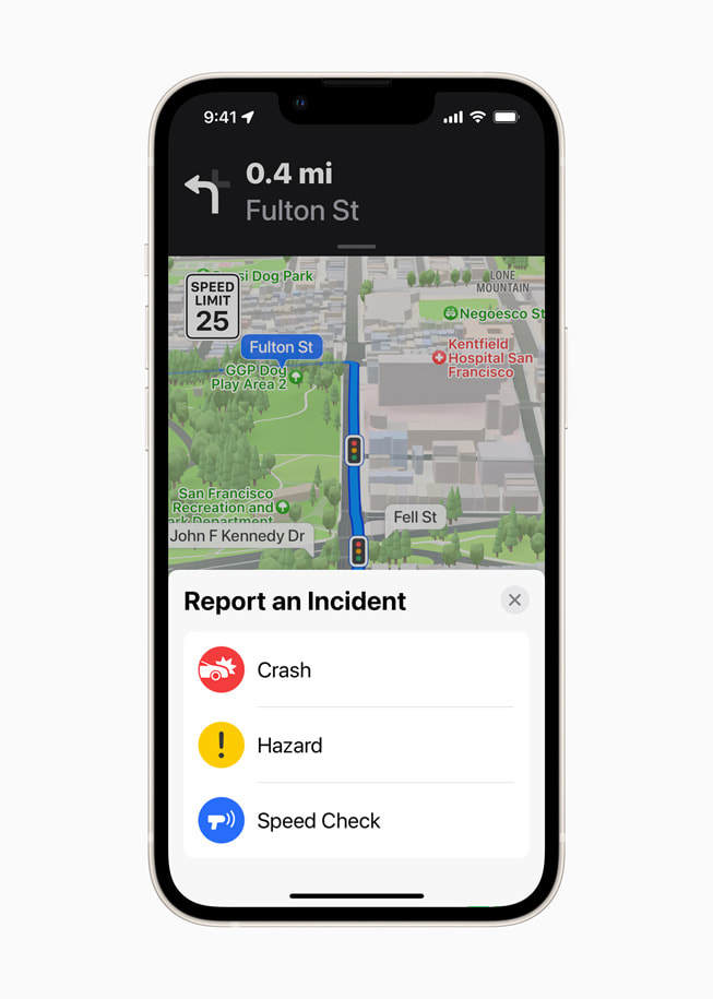 Apple Maps on iPhone shows the ability to report a traffic incident.