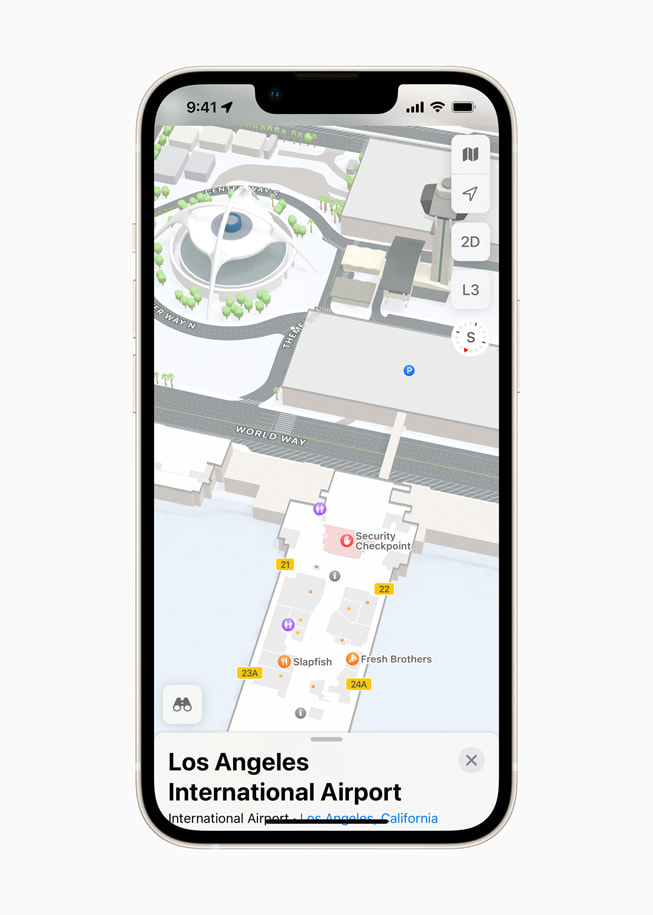 Apple Maps on iPhone shows an Indoor Map of Los Angeles International Airport.