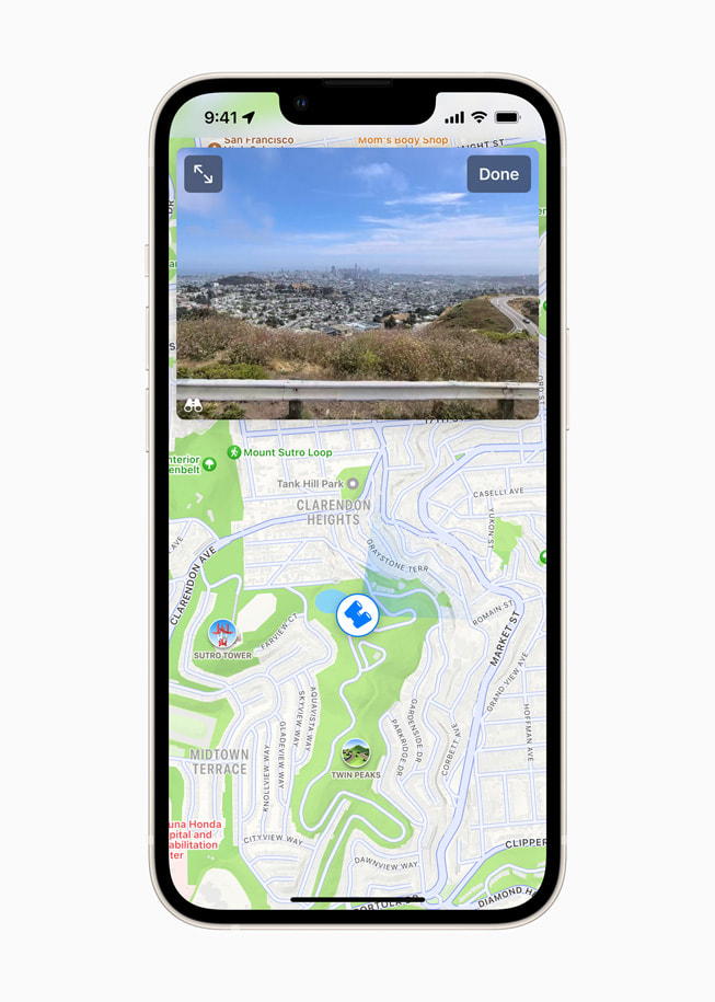 Look Around in Apple Maps on iPhone shows a detailed street-level view of San Francisco.