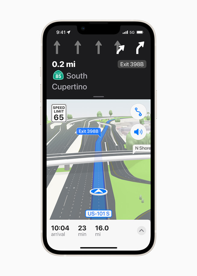 iPhone shows a road-level 3D view in Apple Maps in iOS 15.
