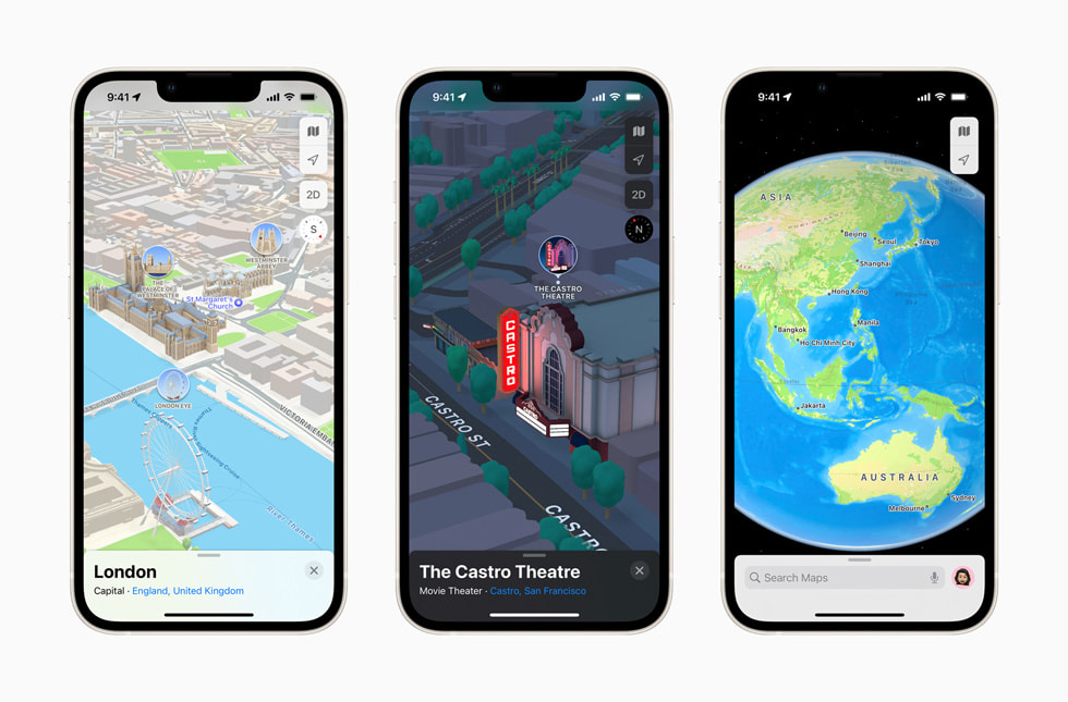 iPhone screens show the three-dimensional city experience in Apple Maps in iOS 15.