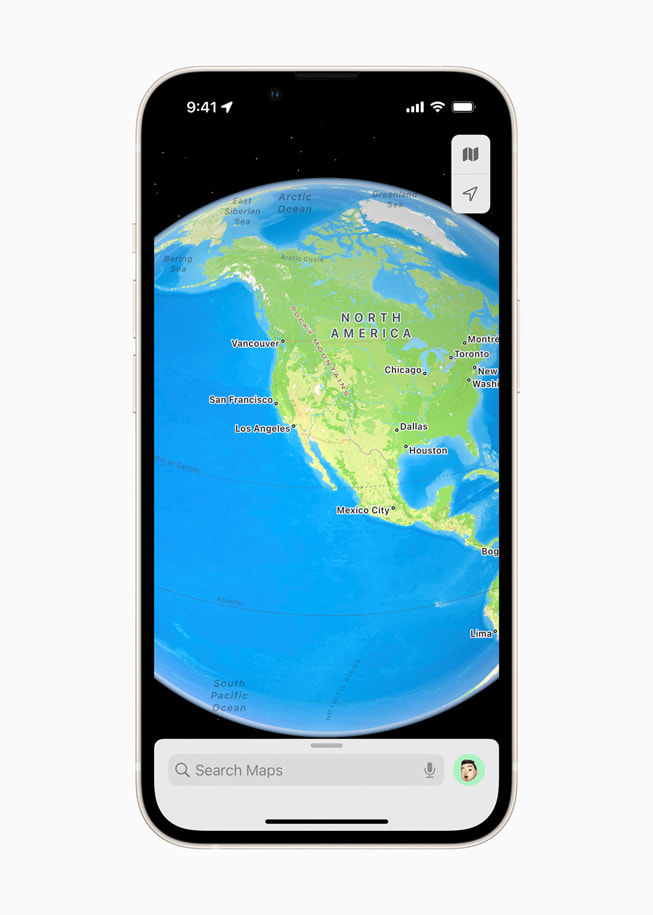 A new interactive globe in Apple Maps in iOS 15 shows North America.