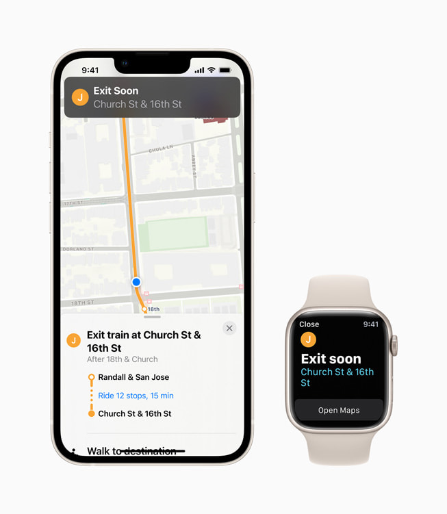 iPhone and Apple Watch Series 7 show the user when they're nearing their desired transit stop in Apple Maps in iOS 15.