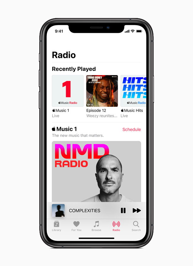 Apple Music radio displayed on iPhone 11 Pro.
