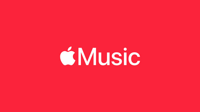 The Apple Music logo on a red background.