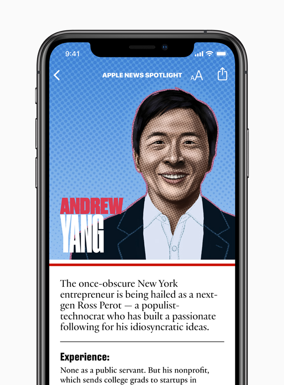 Andrew Yang candidate page on Apple News.
