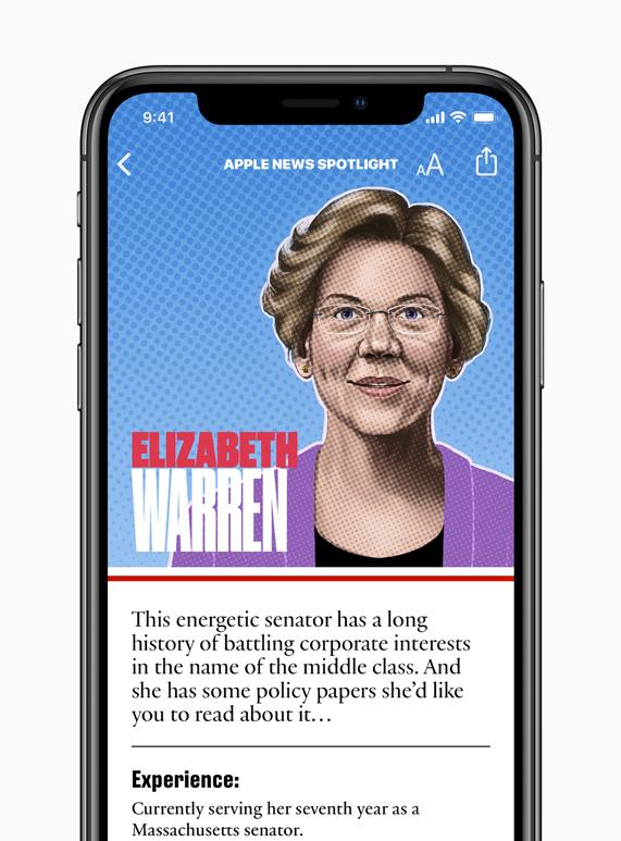 Elizabeth Warren candidate page on Apple News.