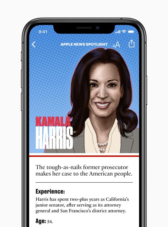 Kamala Harris candidate page on Apple News.