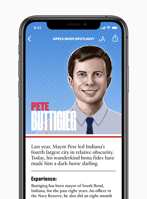 Pete Buttigieg candidate page on Apple News.