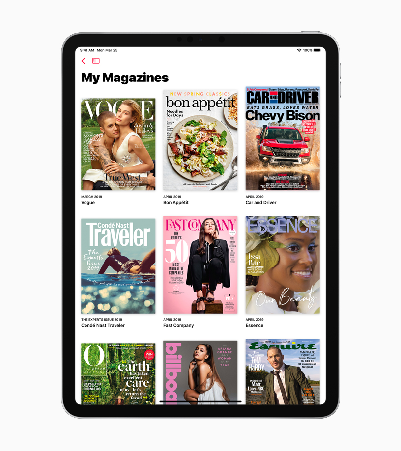 iPad showing My Magazines screen.