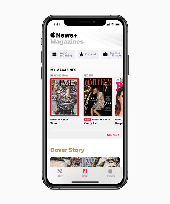 iPhone showing Apple News+ Magazines screen.