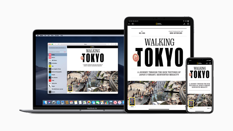 Apple News+ on MacBook, iPhone and iPad.