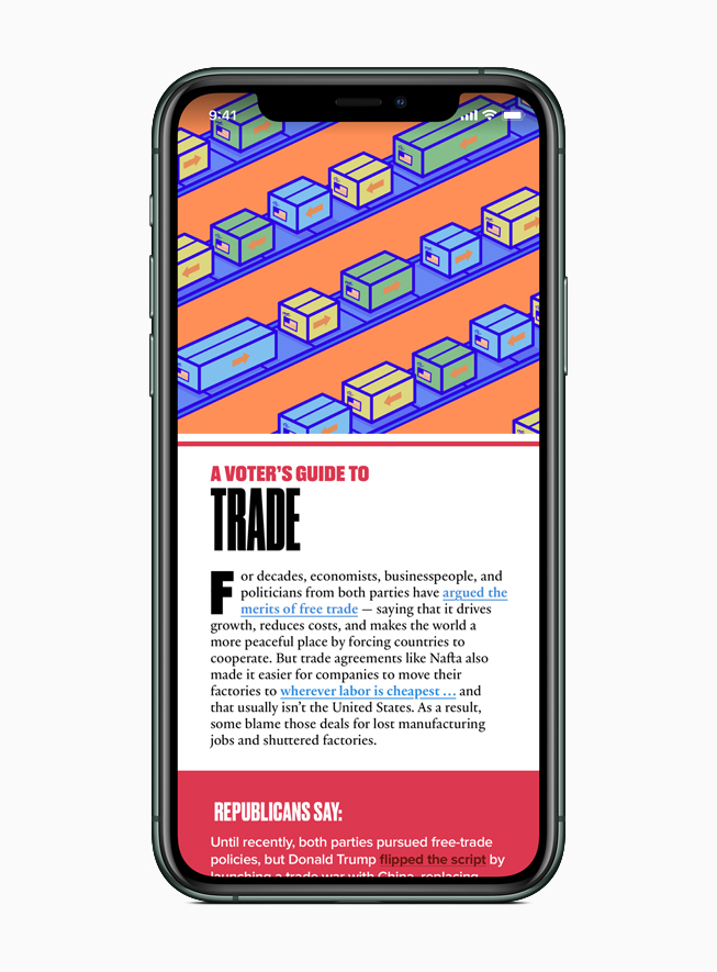 Apple News features a resource of important issues, including trade.