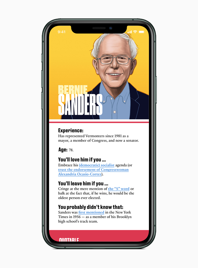 Apple News features a guide to each presidential candidate, including Bernie Sanders.