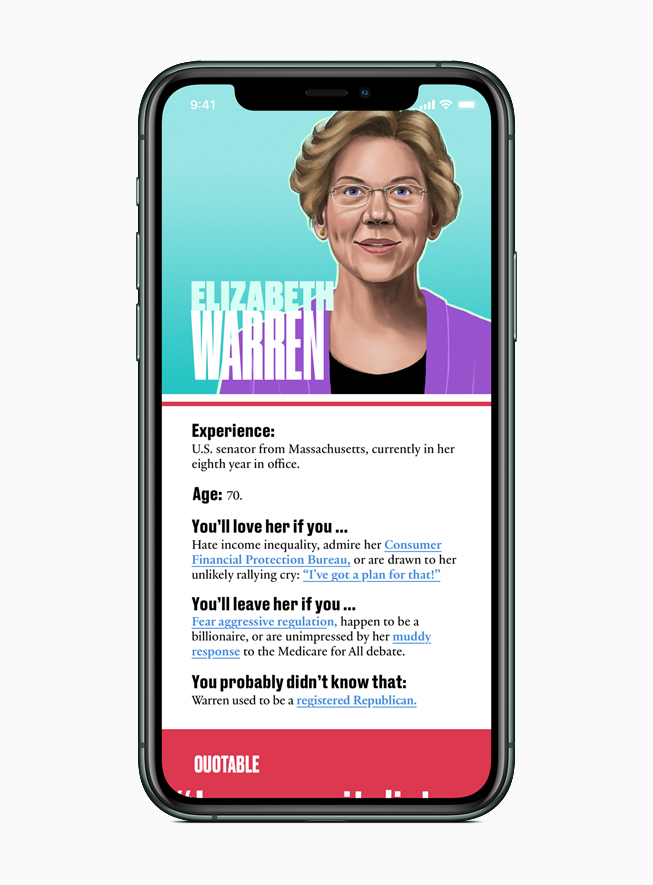 Apple News features a guide to each presidential candidate, including Elizabeth Warren.