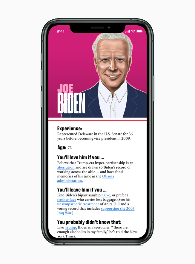 Apple News features a guide to each presidential candidate, including Joe Biden.