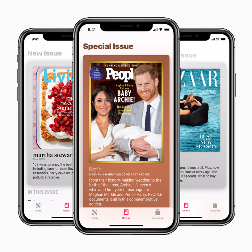 iPhones showing magazine covers in Apple News+ app.