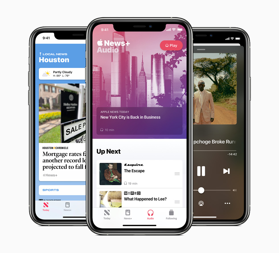 An Apple News+ audio story, a daily audio briefing, and a curated local news experience are each displayed on three separate iPhone 11 Pro.
