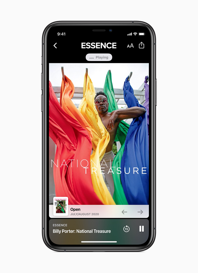 An Apple News+ audio story from Essence is displayed on iPhone 11 Pro.