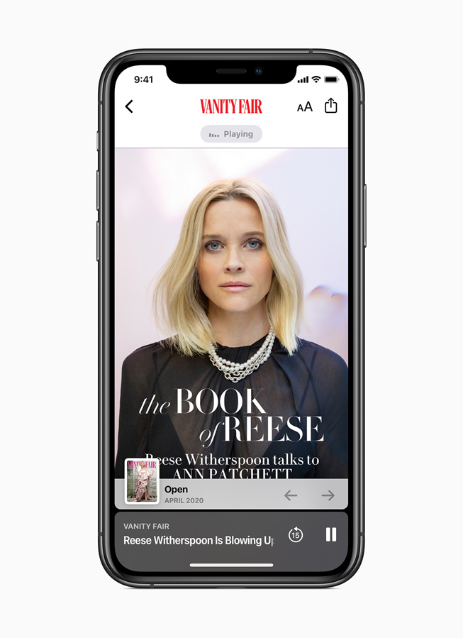 An Apple News+ audio story from Vanity Fair is displayed on iPhone 11 Pro.