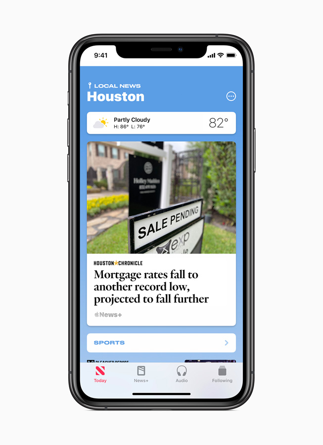 Curated local news for Houston is displayed on iPhone 11 Pro.
