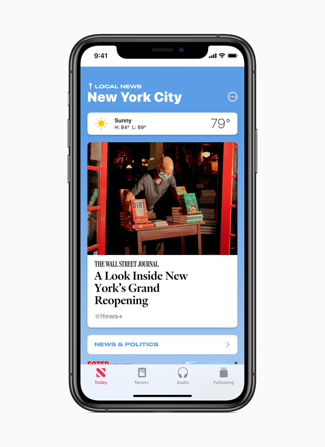 Curated local news for New York City is displayed on iPhone 11 Pro.