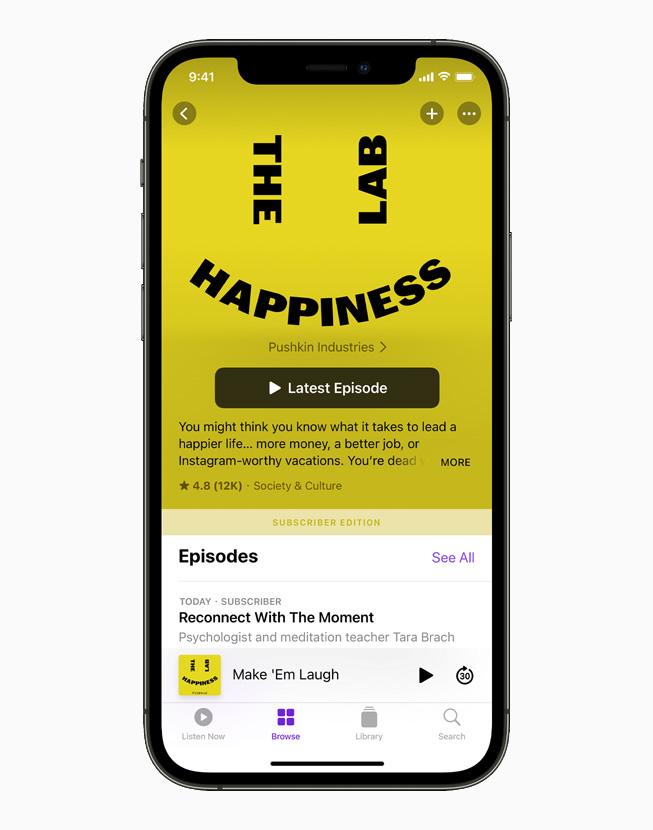 Il podcast Happiness Lab su un iPhone 12 Pro.