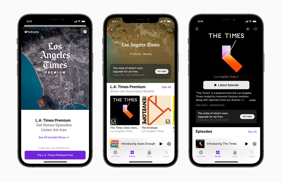 Apple Podcasts Subscriptions and channels displayed on iPhone 12 Pro.