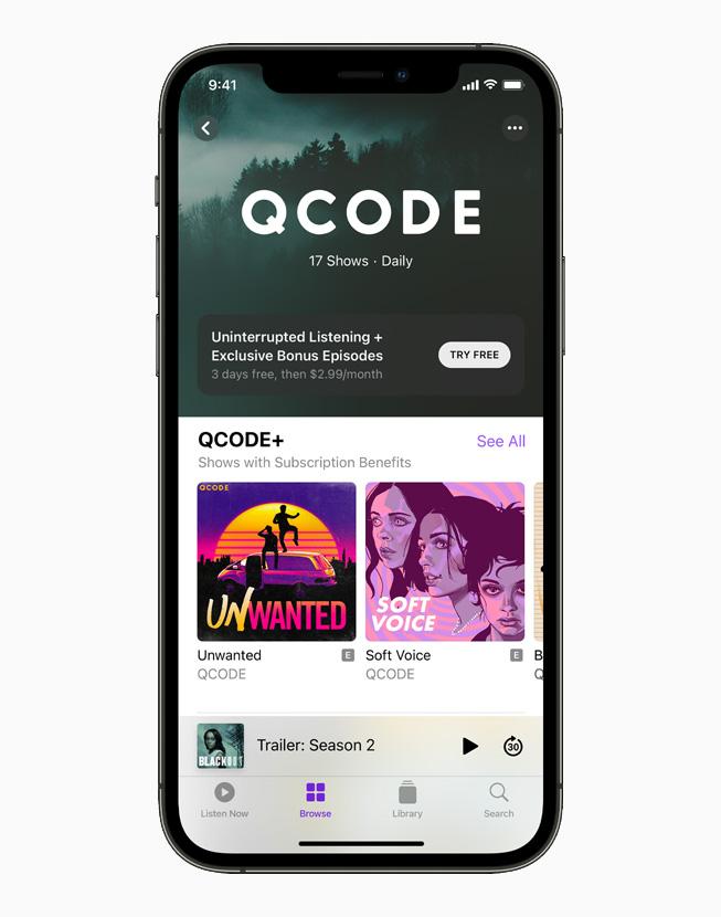 La schermata per abbonarsi al podcast QCODE+ su un iPhone 12 Pro.